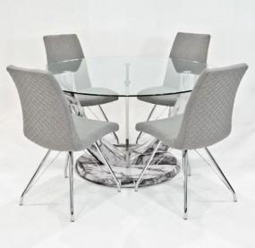 Stół do jadalni owalny 4 szare krzesła 140cm komplet szklany blat okrągły ława stolik  marmur zestaw