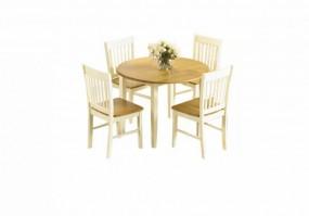 Stół do jadalni rozkładany 4 krzesła drewno komplet gruby blat owalny stolik okrągła ława zestaw składany blat