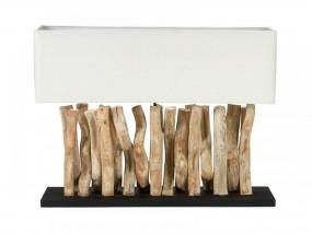 Lampa stołowa stojąca lampka nocna drewno recykling biała drewno naturalne