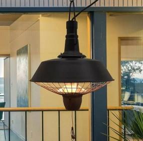 Grzejnik elektryczny sufitowy RETRO wiszący czarny 2w1 ogrzewacz tarasowy lampa