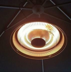 Ogrzewacz elektryczny ekskluzywny 43 cm lampa RETRO czarny mat wiszący sufitowy