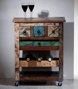 Regał kuchenny mobilny drewniany 100% naturalne drewno ANTYCZNY rękodzieło