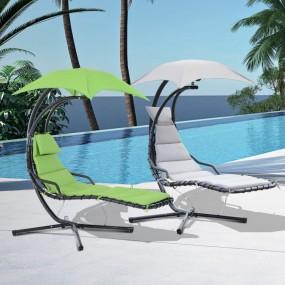 Leżak wiszący z parasolem huśtawka krzesło wiszące chamak