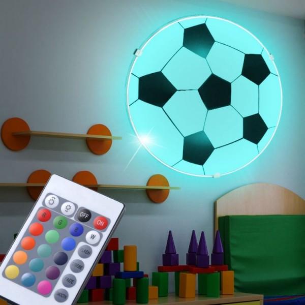 Lampa sufitowa piłka oświetlenie dla dzieci plafon do pokoju dziecięcego LED lampa wisząca piłka nożna kolory pilot