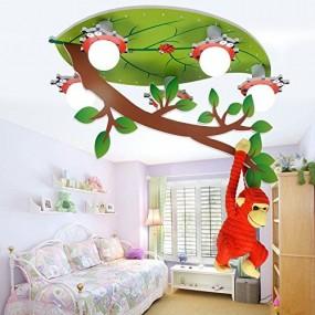 Lampa sufitowa oświetlenie dla dzieci lampa do pokoju dziecięcego LED lampa wisząca żyrandol małpa drzewo