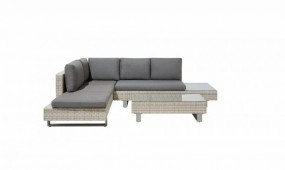 Zestaw mebli do ogrodu jasny narożnik kanapa stolik ława poduszki rattan ogród zestaw wypoczynkowy relax komplet