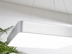 Lampa biurowa  plafon nad stół KWADRAT żyrandol biurowy 64W białe zimne światło