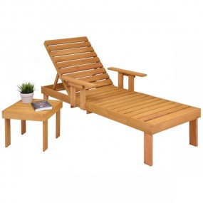 Leżak + stolik  drewniany leżak spa meble ogrodowe komplet relax podłokietniki leżanka sofa łóżko do opalania