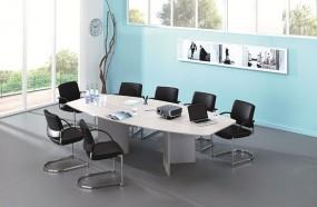 Stół konferencyjny owalny drewniane nogi stół do biura na spotkania biały 280 cm