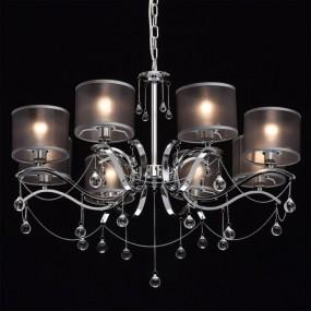 Barokowy żyrandol lampa wisząca sufitowa 8 ramienna srebrna szara barok chromowany styl