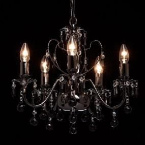 Klasyczny żyrandol lampa wisząca sufitowa 5 ramienna kryształy styl