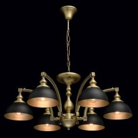 Klasyczny 6 ramienny żyrandol lampa sufitowa wisząca złoty złota mosiądz czarny antyk barok design