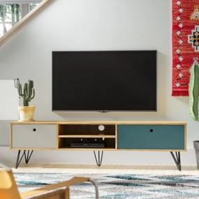 Stolik pod telewizor szafka RTV szuflady półki komoda pokój salon styl 150 cm