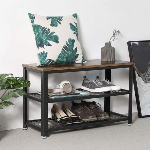 Siedzisko ławka regał szafka na buty drewno + metal