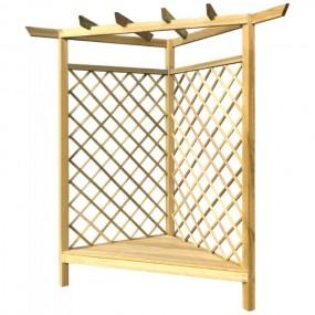 Drewniana pergola narożna z ławką ławka ogrodowa drewno