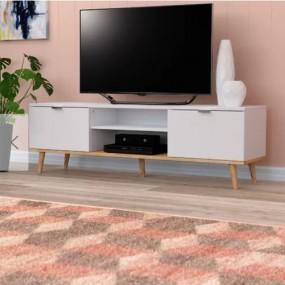 Klasyczna szafka pod telewizor TV stolik RTV biały komoda pokój salon