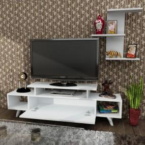 Szafka RTV stolik pod tv biały kredens komoda 150cm pokój salon  TV + półka