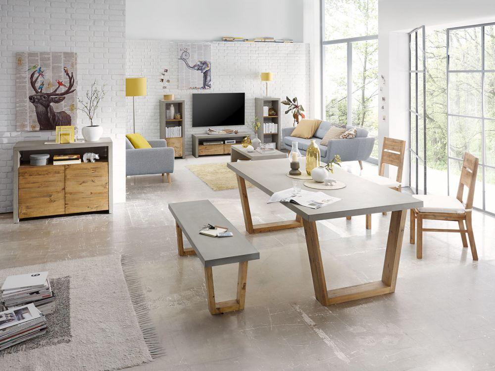 Niesamowite Stół do jadalni beton drewno 160cm stolik ława gruby betonowy blat WI04