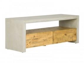 Szafka pod TV komoda 2 szuflady beton drewno 120cm stolik ława sosna szary RTV salon pokój