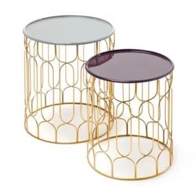Komplet stoliki boczne kawowe do salonu pokoju zestaw stolików 2 szt złote złoto