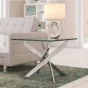 Nowoczesny stolik kawowy szklany stoliczek boczny szkło srebrny do pokoju salonu