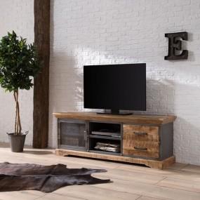Drewniana szafka pod telewizor 145cm TV komoda półka stolik RTV drewno metal szuflady salon pokój