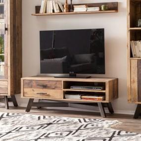 Drewniana szafka pod telewizor 130cm TV komoda półka stolik RTV drewno stal szuflady salon pokój półki