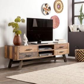 Drewniana szafka pod telewizor 165cm TV komoda półka stolik RTV drewno stal szuflady salon pokój półki sosna