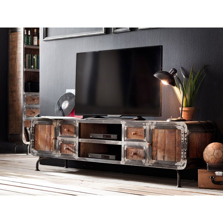 Groovy Szafka pod telewizor 200cm TV komoda drewniana półka stolik RTV US18