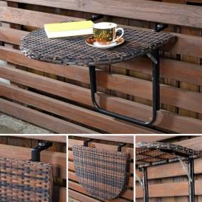 Stolik ogrodowy podwieszany rattanowy na balkon na barierkę balustradę  stół składany balkonowy wiszący ścienny rattan