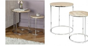 Komplet stoliki boczne kawowe do salonu pokoju zestaw stolików 2 szt srebrne