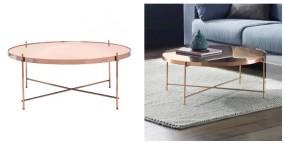 Elegancki stolik kawowy lustrzany szklany stoliczek okrągły ława pokojowa stół do salonu okrągły