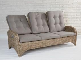 Sofa kanapa ławka 3 osobowa rattanowa z poduszkami regulacja oparcia do ogrodu na balkon taras z rattanu fotel XXL