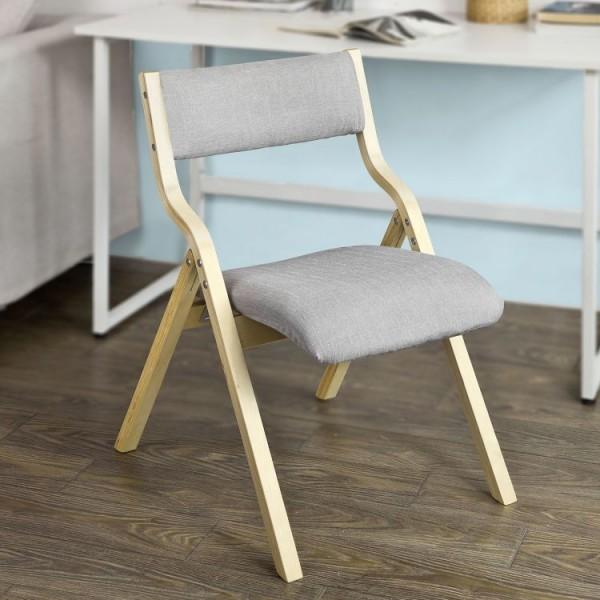 Solidne krzesło składane fotel tapicerowany drewno naturalne zdejmowana tapicerka