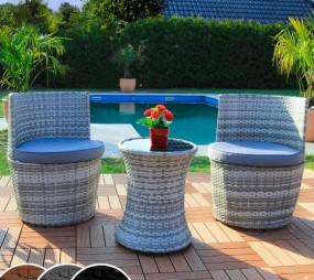 3-elementowy zestaw mebli rattanowych meble ogrodowe rattanowe stół z krzesłami fotelemi