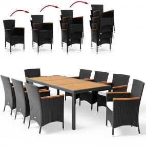 9-elementowy zestaw mebli rattanowych meble ogrodowe rozkładane rattanowe stół z krzesłami fotelemi