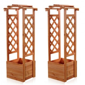 Drewniana pergola z doniczką łuk doniczka drewniana masywna ogrodowa