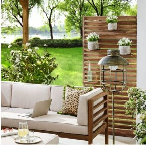 Regał ogrodowy roleta drewniana DREWNO NATURALNE na balkon taras roleta separator kwietnik półki