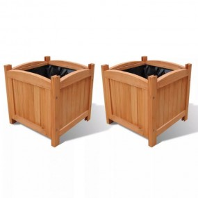 Zestaw 2x doniczek Drewniana donica 2 szt na kwiaty doniczka masywna ogrodowa kwadratowa