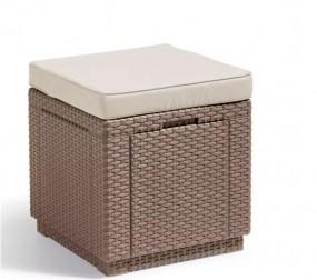 Stolik stołek podnóżek rattanowy pufa rattanowa ze schowkiem siedzisko rattan
