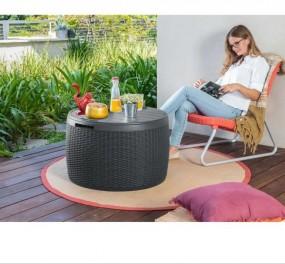 Wielofunkcyjny stół stolik rattanowy ława skrzynia ogrodowa ze schowkiem siedzisko rattan
