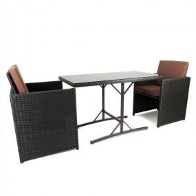 Składany zestaw mebli rattanowych stół + 2 fotele krzesła balkon