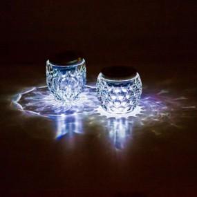 zestaw 2 szt Lampa ogrodowa solarna LED kryształowa kula szklana elegancka