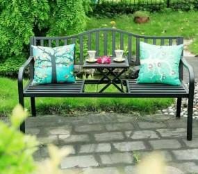Duża ławka ogrodowa ze składanym stołem  metalowa 150 cm zestaw ławeczka + stół  ogród taras