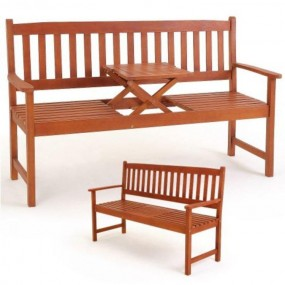 Ławka ogrodowa ze stolikiem ławeczka drewniana +składany stolik 3 osobowa ogród park