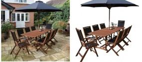 8-osobowy zestaw mebli ogrodowych 6 krzeseł + stół parasol 2 leżaki  meble ogrodowe drewniane