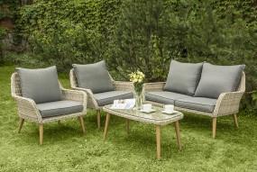 Zestaw komplet mebli ogrodowych sofa stół fotele ogrodowy 4 częściowy rattanowy 4 osobowy