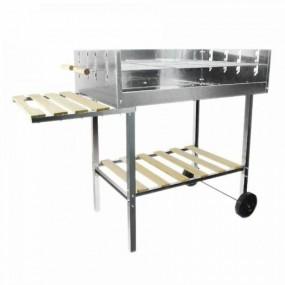 Grill węglowy na kółkach ze stali nierdzewnej z półkami