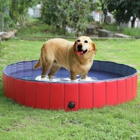Duży basen dla psa dla zwierząt rozporowy składany czerwony wanna