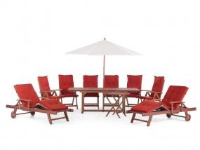 Duży zestaw mebli ogrodowy 19 częściowy stół z krzesłami z parasolem z leżakami i parasolem poduszki